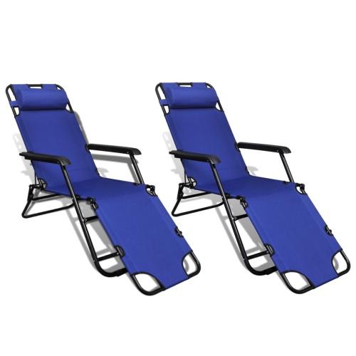 sunlounger Pliable Réglable avec repose-pieds Ensemble de 2 Bleu
