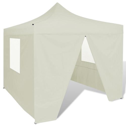 Partyzelt Überdachung mit 4 Wänden faltbar 3 x 3 m Cremeweiß