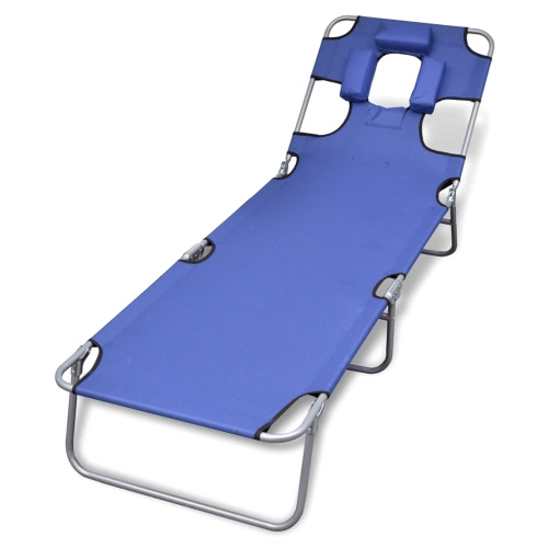 Folding sun lounger with cushion and blue adjustable backrest