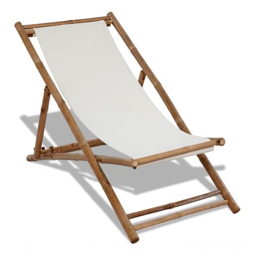 Leżak wykonany z bambusa i płótna