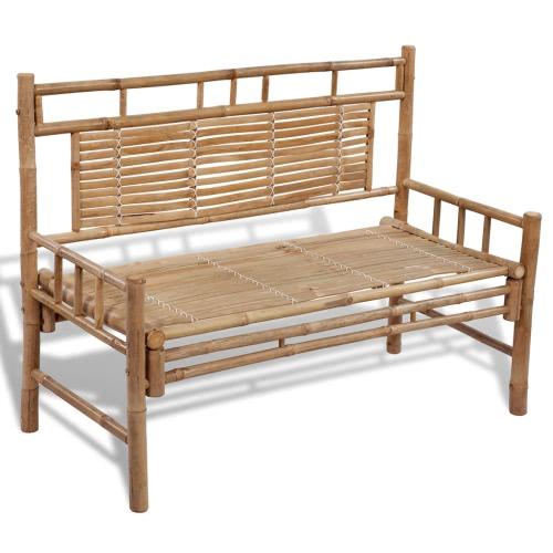 Bench hecho de bambú con respaldo