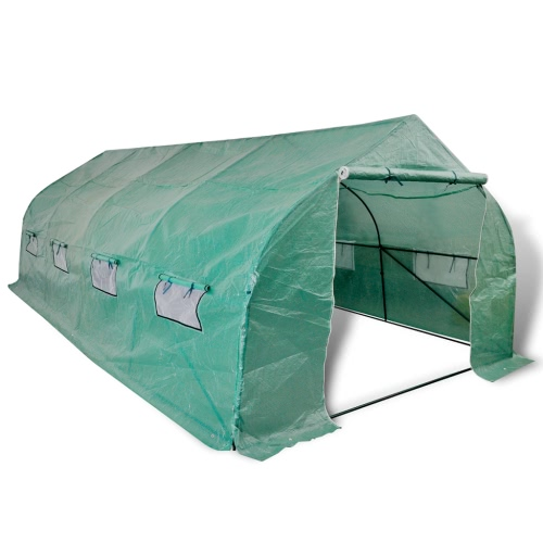 Walk-in Portable Polytunnel Greenhouse with Steel Frame 18 m2
