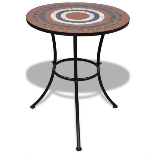 Mosaico de mesa 60 cm terracota / blanco
