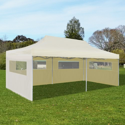 Tente de réception pliable pop-up 3 x 6 m Crème