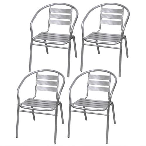4 aluminium salle Chaises / jardin empilable