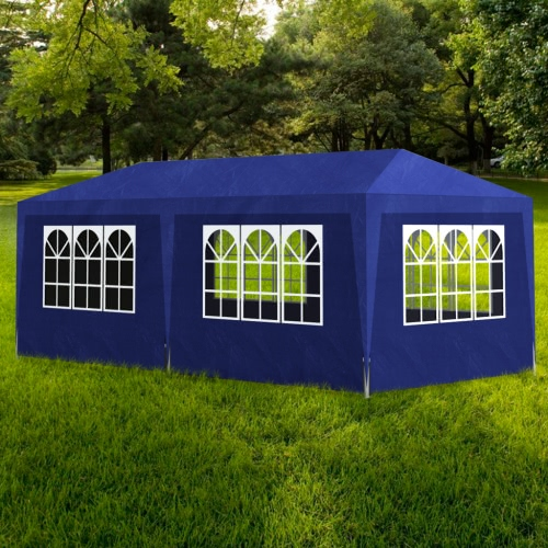 Blue Party Tent with 6 Walls 3 x 6 m