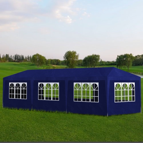 Blue Party Tent with 8 Walls 3 x 9 m