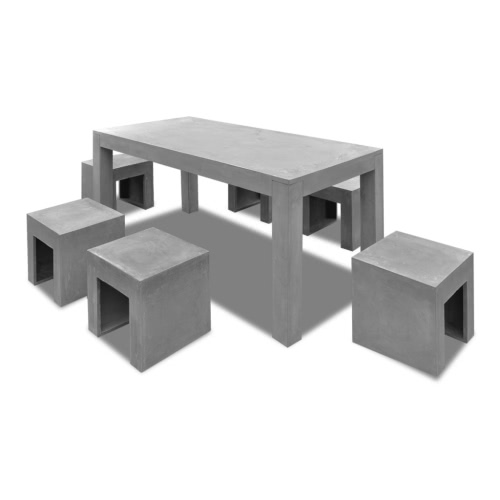 Concrete Furniture Set 1 Table + 6 Stools