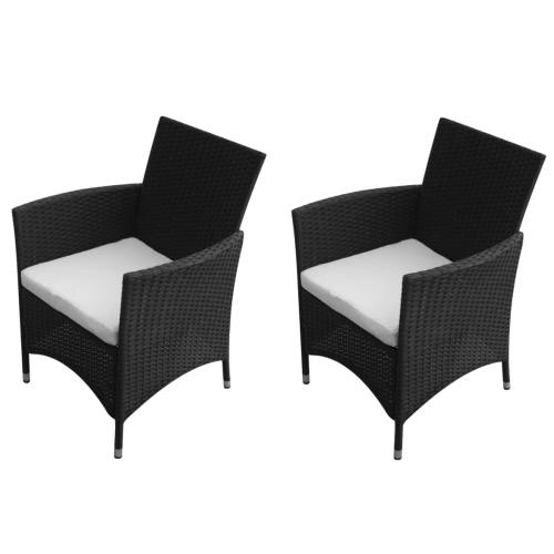 Garden Chair Set 2 pezzi nero Poly Rattan