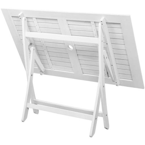 5 pz. set tavolo da pranzo in legno di acacia bianco Mobili da giardino
