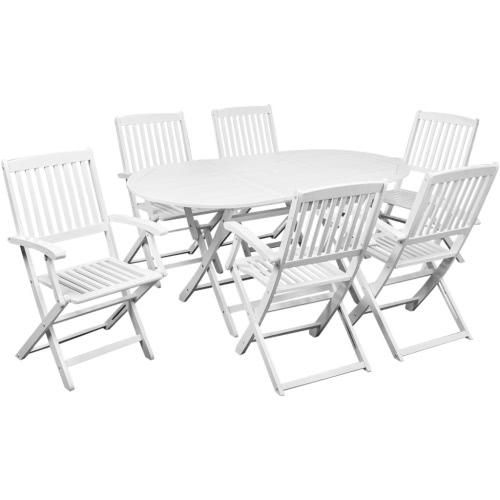 7 pz. set tavolo da pranzo in legno di acacia bianco Mobili da giardino