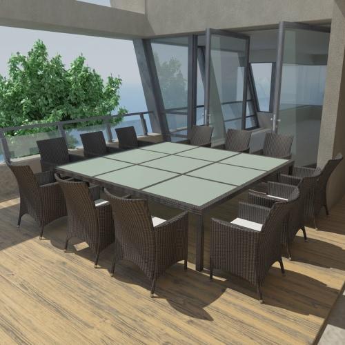 Salle à manger Outdoor Set Poly Rotin noir