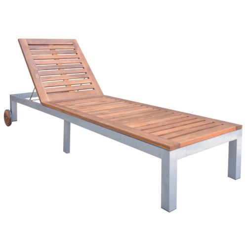 lettino 207x70x (31-88) cm in legno di acacia