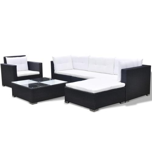 17 pz. Giardino del sofà Poly Rattan nero