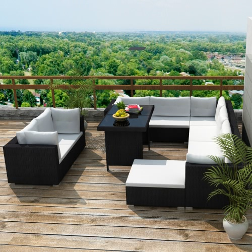 28 pcs Salon de jardin Mobilier d'extérieur en polirattan noir