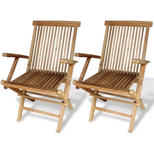 Gartenstühle 2 Stück Teak 55x60x89 cm