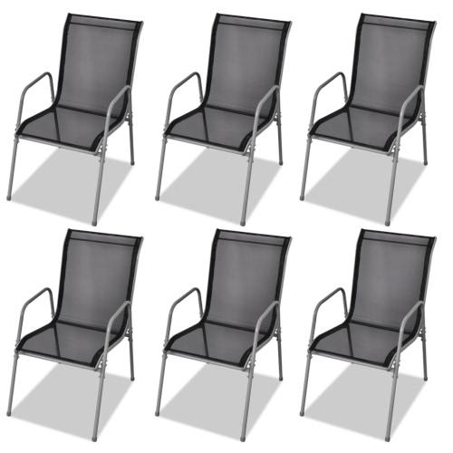 extérieur Chaise 6 pcs textilène noir