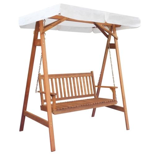 Garden Swing Chair with Canopy Eucalyptus Acacia Wood