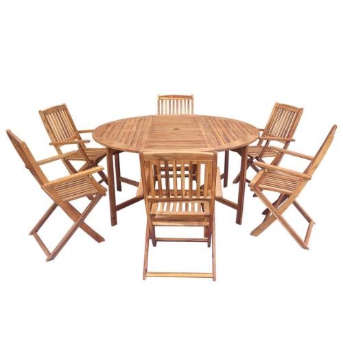 Sieben Stück Outdoor Folding Dining Set Acacia Holz