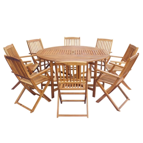 Nine Piece Outdoor Folding Dining Set Acacia Wood