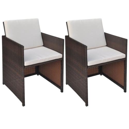 Обеденные стулья 2 шт. Браун 52 × 56 × 85 см поли ротанг