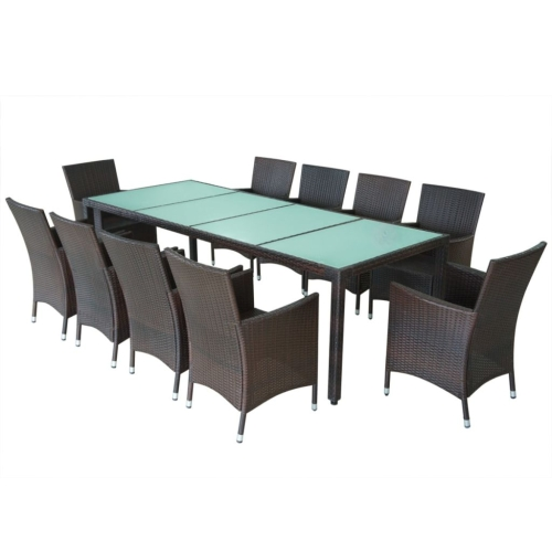 21 Stück Outdoor Dining Set Poly Rattan Braun