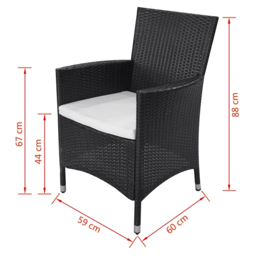 21 piece outdoor dining set poly rattan black