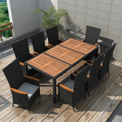 garden dining set 17 pcs. black poly rattan acacia wood xxl