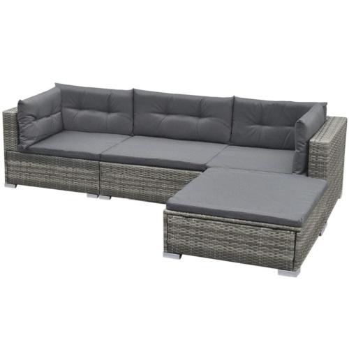 Садовый секционный диван 14 шт. Поли ротанговый серый