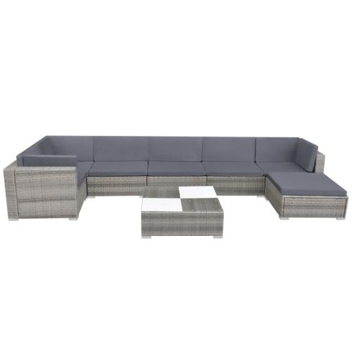 Set di divani da giardino 24 pz. Poly rattan grigio