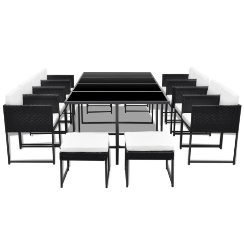 33 piece outdoor dining set black poly rattan