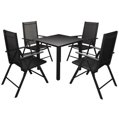 Five Piece Garden Dining Set Aluminium Black