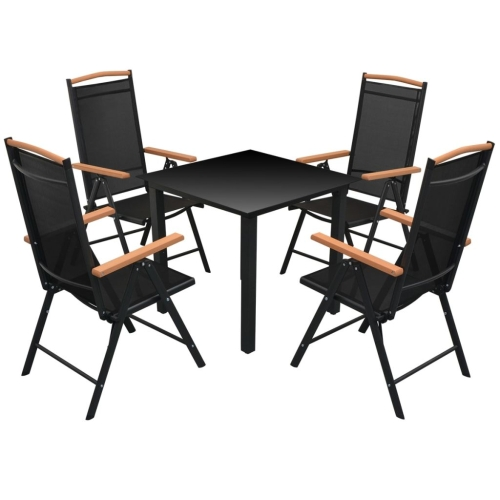 Five Piece Garden Furniture Set Aluminium Black