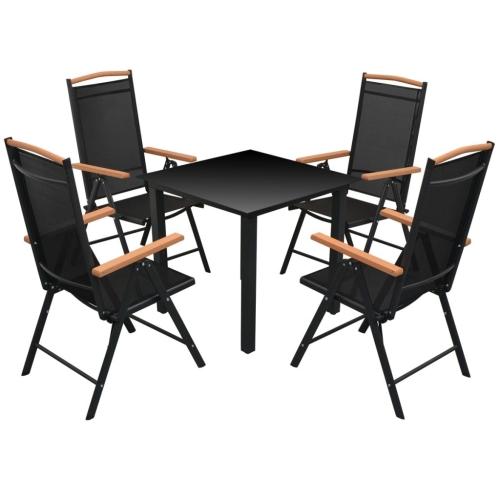 Fünf Stück Gartenmöbel Set Aluminium Schwarz