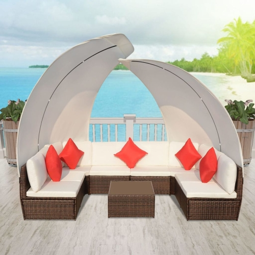 34 piece outdoor lounge set with canopies poly rattan brown
