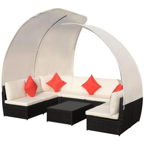 34 Stück Outdoor Lounge Set mit Baldachin Poly Rattan Schwarz