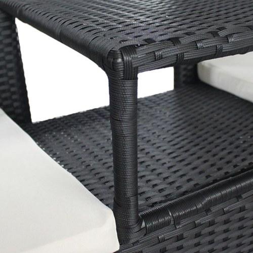 Panca da giardino 2 posti con tavolo in poly rattan nero