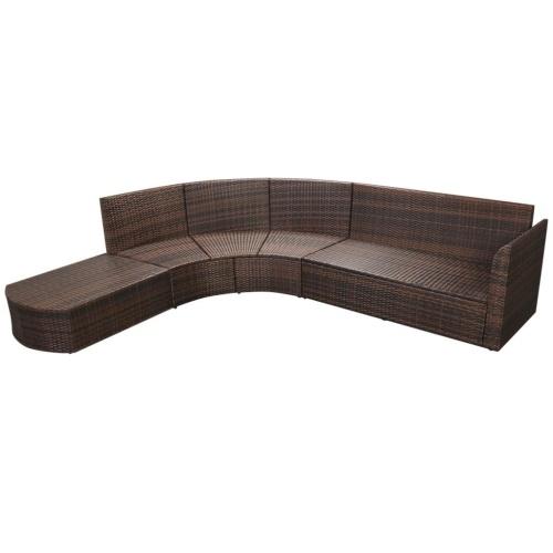 Комплект садового дивана 15 шт. Полированный ротанга коричневый