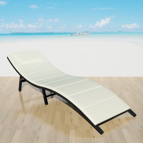Складной Sun Lounger Poly Rattan Black