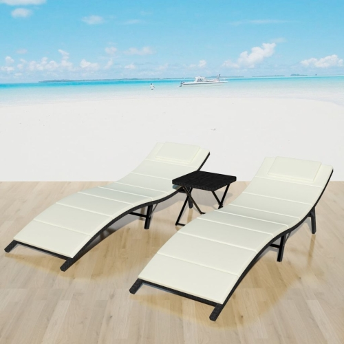Five Piece Folding Sun Lounger Set Poly Rattan Black