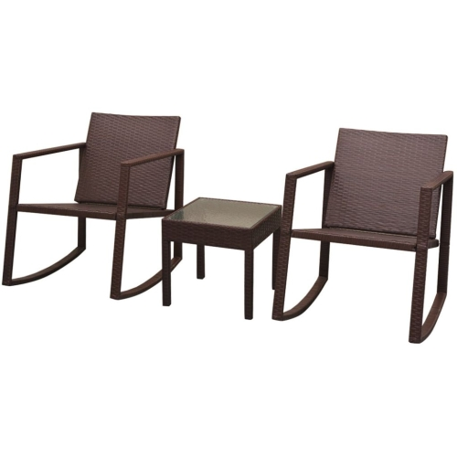 Three Piece Outdoor Rocking Chair and Table Set Poly Rattan Brown