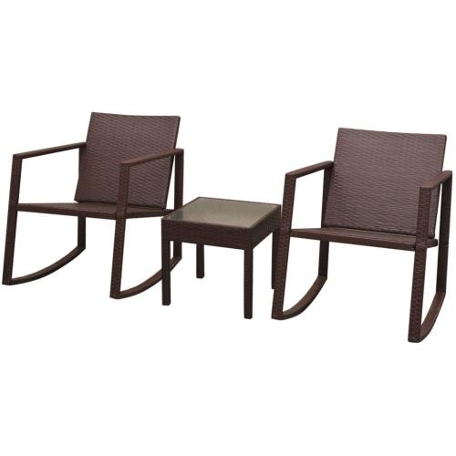 Три Piece Открытый качалка и стол Набор Поли Ротанг Браун