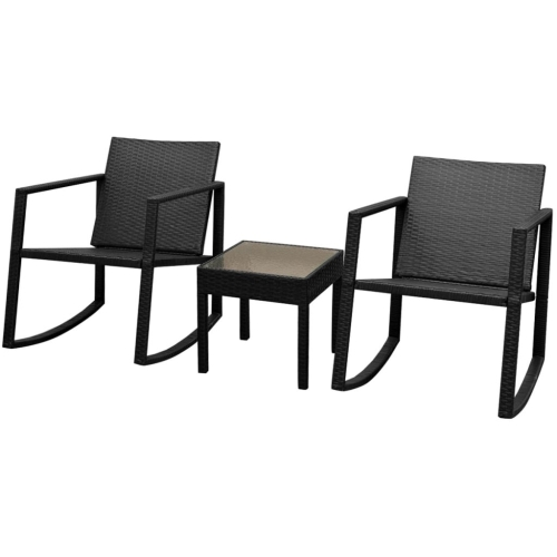 Three Piece Outdoor Rocking Chair and Table Set Poly Rattan Black