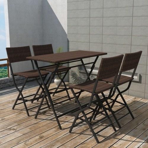 Садовый столовый набор 5 шт. Полированный ротанга коричневый