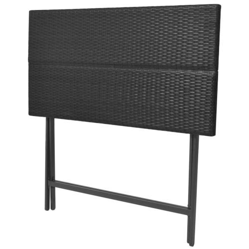 Садовый столовый набор 7 шт. Поли ротанга черный
