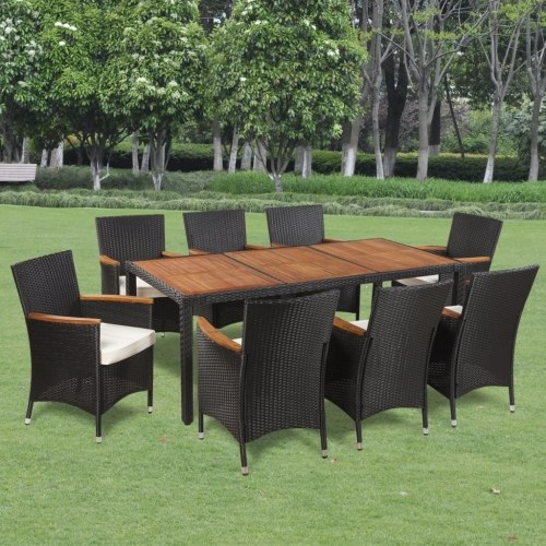 garden dining set 17 pcs. poly rattan acacia wood table top