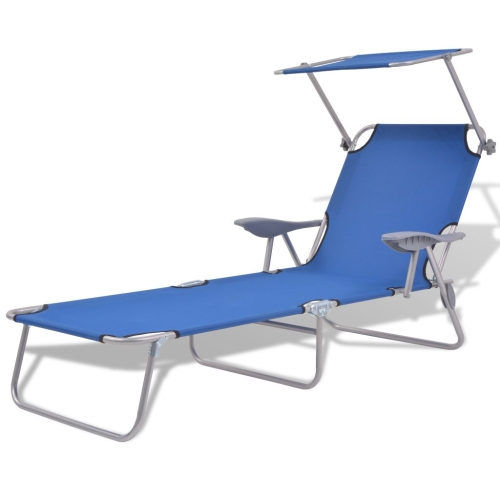 Outdoor Sun Lounger with Canopy Blue Steel 58x189x27 cm