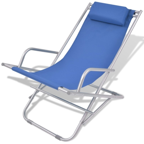 Reclining Deck Chairs 2 pcs Blue Steel 69x61x94 cm