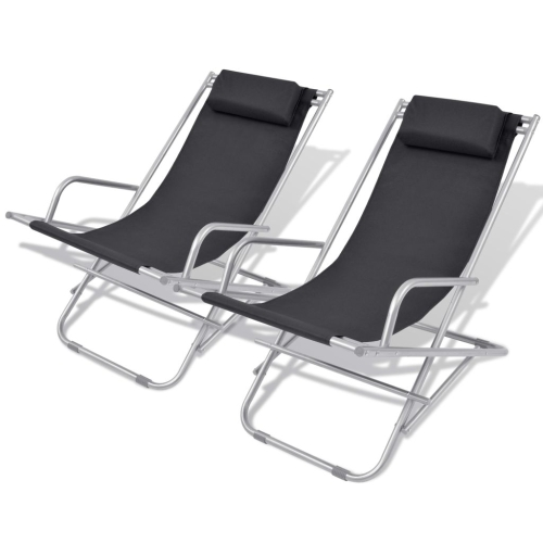 Reclining Deck Chairs 2 pcs Black Steel 69x61x94 cm