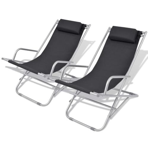 Лежащие стулья для палубы 2 шт. Черная сталь 69x61x94 см